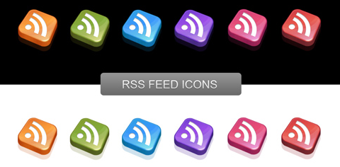 6 Colors Pretty RSS Icons with 3D Effect and Reflection