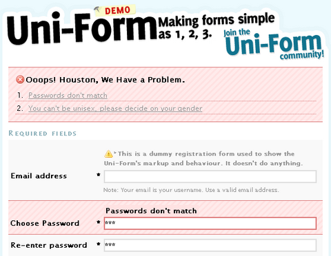 Plug and Play Uni-Form to Standardize Form Markup