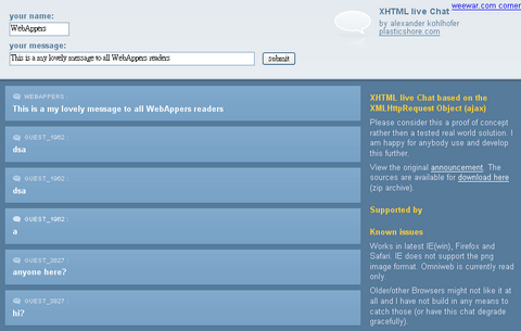 Open Source Ajax XHTML Chat