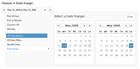 jQuery Interactive Date Range Picker with Shortcuts