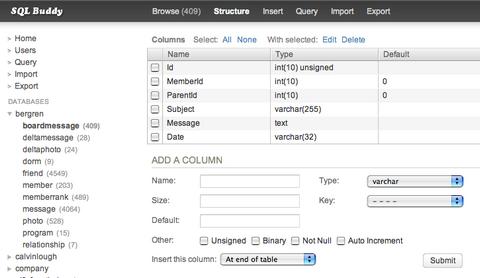 SQl Buddy - Web Based MySQL Administration