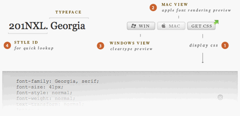 Browse Web Typefaces and Download CSS Code