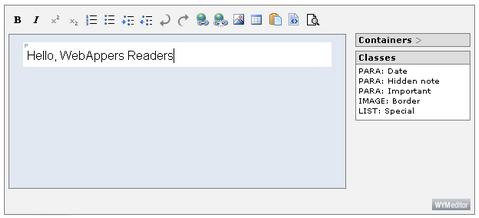 WYMeditor Web-based WYSIWYM XHTML editor