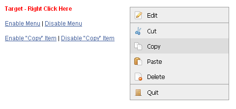 MooTools Context Menu Plugin