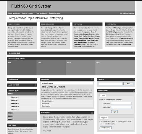 Fluid 960 Grid System Templates