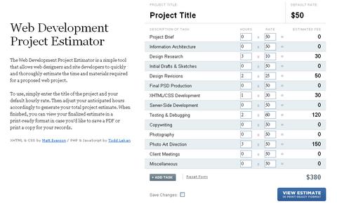Web Development Project Estimator
