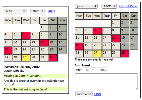 Calendar System Using MySQL and Script.aculo.us