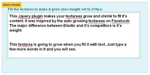 Elastic Textarea jQuery Plugin