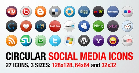 New Set of Circular Social Media Icons for Free