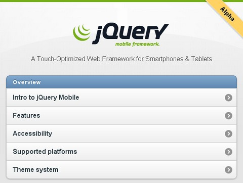 jQuery Mobile Alpha 1 Released