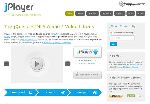 The jQuery HTML5 Audio / Video Library