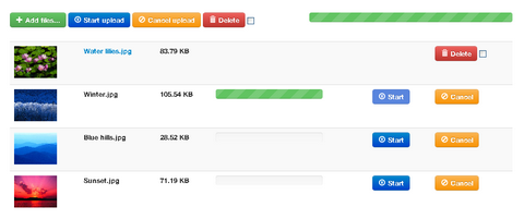jQuery File Upload with Progress Bars and Previews