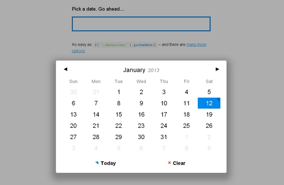 A Fully Responsive & Lightweight jQuery Dateinput Picker