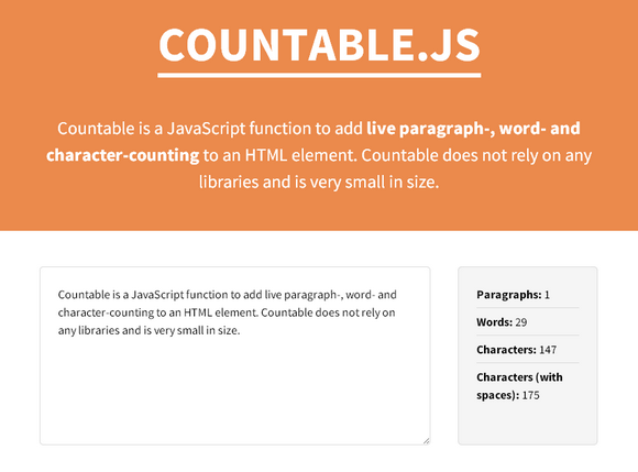 Paragraph, Word & Character Counting with Countable.js