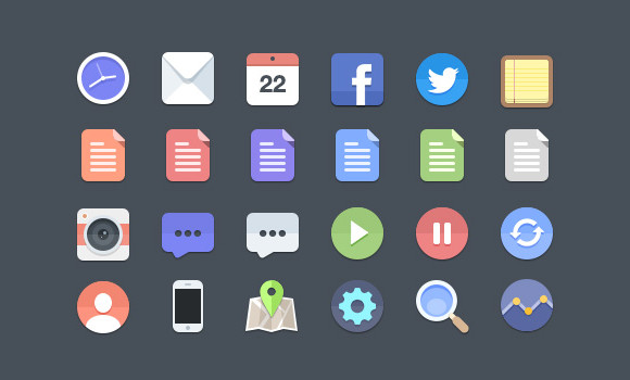 24 Flat Style Icons in PSD Format Free for Download