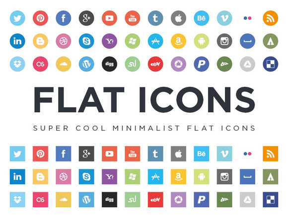Free Minimalist Flat Design Social Media Icons Web Resources Webappers