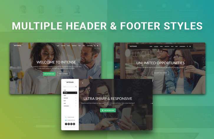 intense - multiple header and footer styles
