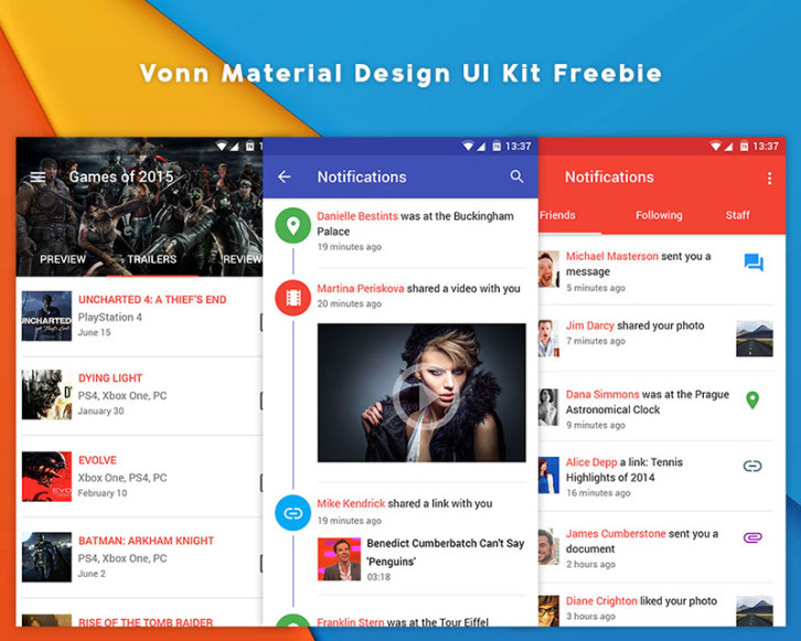 vonn-material-design-ui-kit-freebie